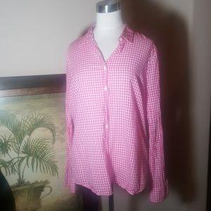 J. CREW Pink/White Gingham Shirt - Size 12